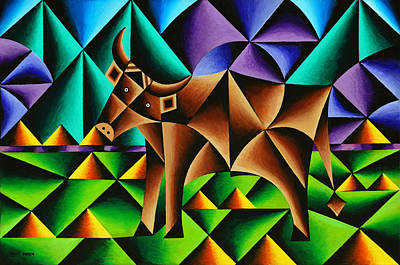 Steer Painting - Bull Cubed by Bruce Bodden