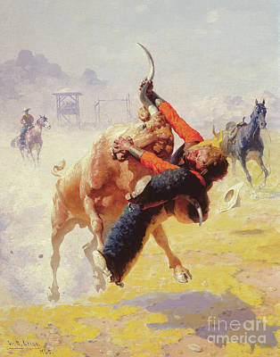 Ranchers Painting - Bull Dodging by William Robinson Leigh
