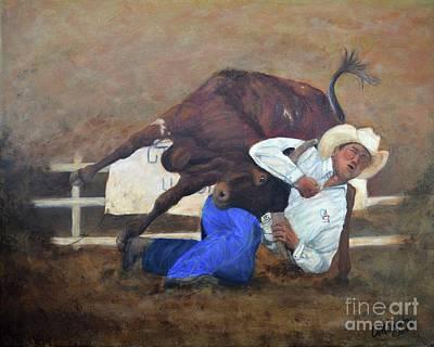Steer Painting - Bull Doggin' by Anne Marie Carrington