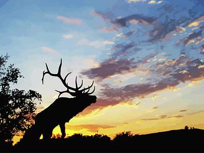 Digital Art - Bull Elk Bugling At Sunset by Elizavella Bowers