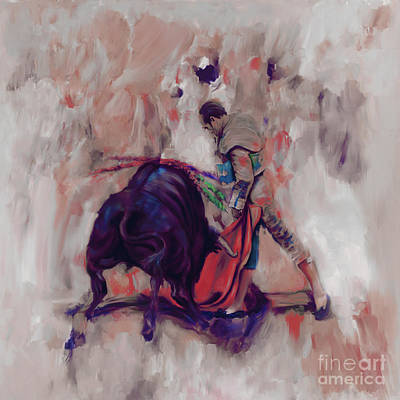 Bull Fight 009k Print by Gull G