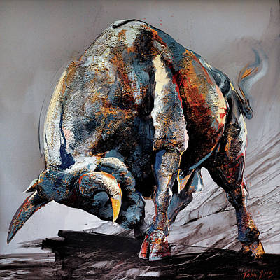 Horoscope Painting -  Bull Fight by Dragan Petrovic Pavle