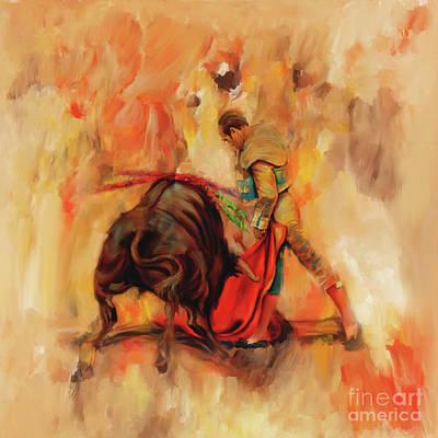 Cruelty Painting - Bull Fight Hb56 by Gull G