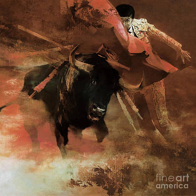 Bullfighter Portrait Painting - Bull Fight Hjyu by Gull G
