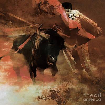 Bull Fight Hjyu Art Print by Gull G