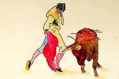 Bull Fighter Art Print by Leo Gordon