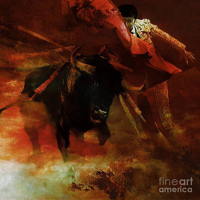 Torero Wall Art - Painting - Bull Fightiing 67u by Gull G