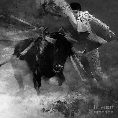 Bull Fighting 09h Art Print by Gull G