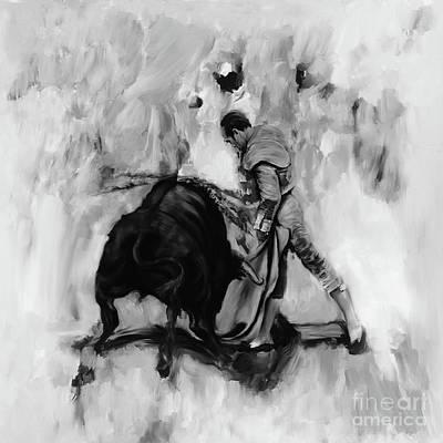 Bull Fighting Hh87 Print by Gull G