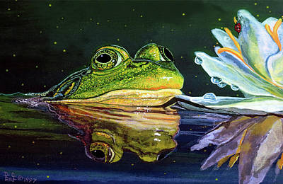 Tree Frogs Painting - Bull Frog Card by Debbie Chamberlin