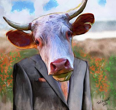 Digital Art - Bull Headed by Ted Azriel