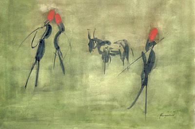 Figurativ Painting - Bull Hunting by Heinz Sterzenbach