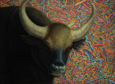 Bull In A Plastic Shop Art Print by James W Johnson