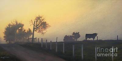 Bull In The Fog Art Print