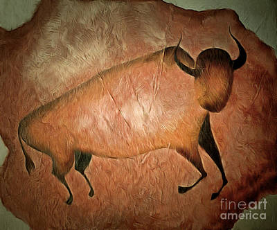 Bison Mixed Media - Bull Like Cave Painting - Primitive Art by Michal Boubin
