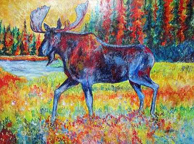 Bull Moose Abstract Art Print by Lauri Kraft