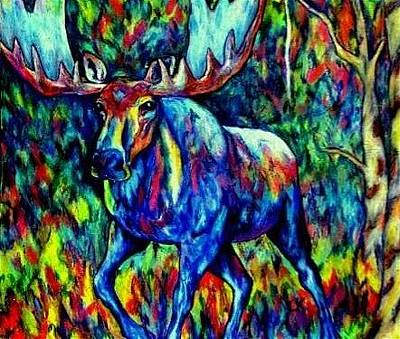 Animal Painting - Bull Moose Abstract Painting by Lauri Kraft