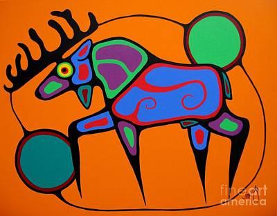 Colorful Native American Painting - Bull Moose by Jim Oskineegish