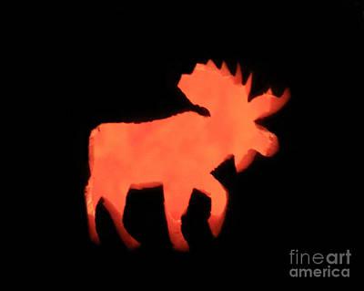 Bull Moose Pumpkin Art Print