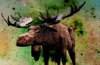 Digital Art - Bull Moose by Robin Regan