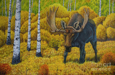 Nature Oil Painting - Bull Moose by Veikko Suikkanen
