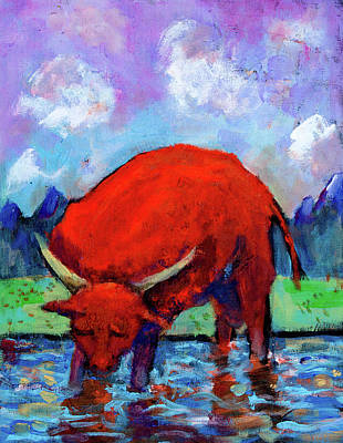 Painting - Bull On The River by Maxim Komissarchik