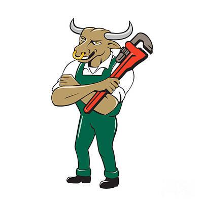 Tradesman Digital Art - Bull Plumber Wrench Standing Isolated Cartoon by Aloysius Patrimonio