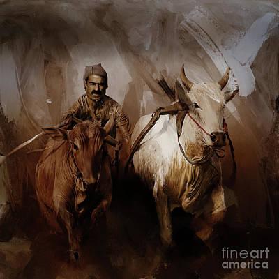 Bulls. Chicago Painting - Bull Race 073 by Gull G