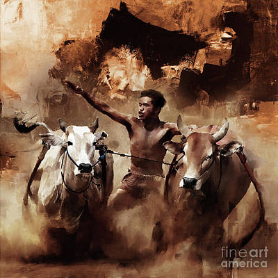 Bull Painting - Bull Racing 0951 by Gull G