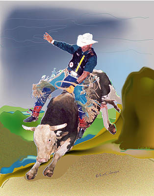 Mixed Media - Bull Rider by Kae Cheatham