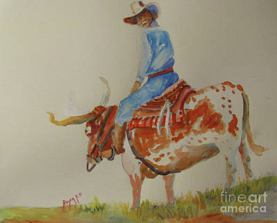 Bull Rider Art Print by Linda Rupard