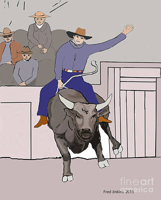 Bull Riding At Rodeo Original by Fred Jinkins