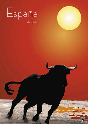 Torero Wall Art - Digital Art - Spanish Bull Run by Quim Abella