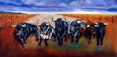 Painting - Bull Stampede by Manuel Sanchez