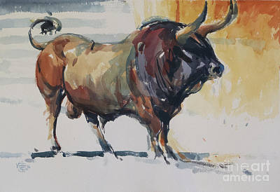 Wall Art - Painting - Bull Study by Tony Belobrajdic
