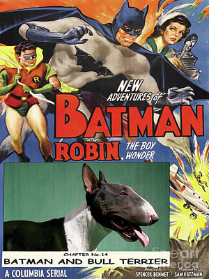 Painting - Bull Terrier Art Canvas Print - Batman Movie Poster by Sandra Sij
