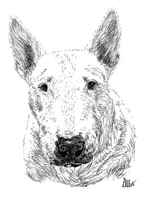 Digital Art - Bull Terrier @doody_the_bull_terrier by ZileArt