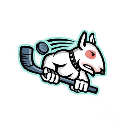 English Bull Dog Wall Art - Digital Art - Bull Terrier Ice Hockey Mascot by Aloysius Patrimonio