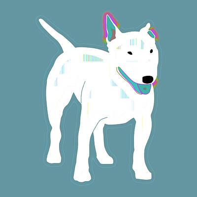 Bullie Digital Art - Bull Terrier In Blues by Joy McKenzie