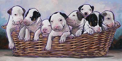 Bull Terrier Pups Original by Nadi Spencer