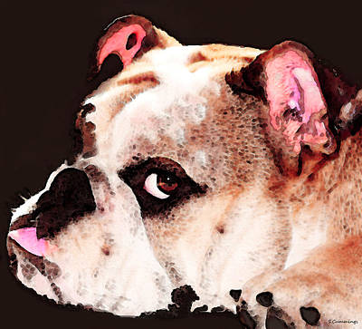 Bulldog Painting - Bulldog Art - Let's Play by Sharon Cummings