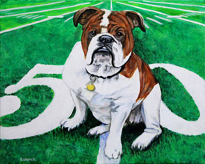 Painting - Bulldog At The Fifty Yard Line by Karl Wagner