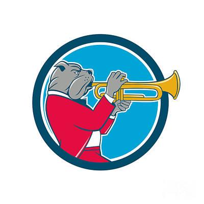Trumpet Digital Art - Bulldog Blowing Trumpet Side Circle Cartoon by Aloysius Patrimonio