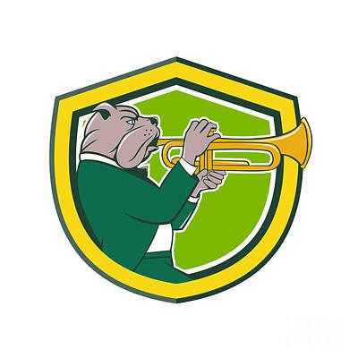 Trumpet Digital Art - Bulldog Blowing Trumpet Side Shield Cartoon by Aloysius Patrimonio