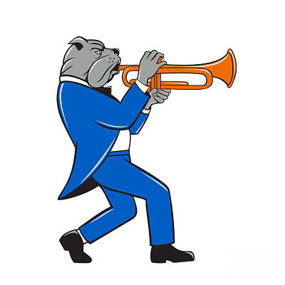 Walking Dog Digital Art - Bulldog Blowing Trumpet Side View Cartoon by Aloysius Patrimonio