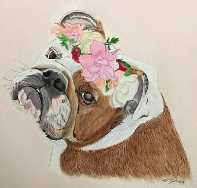 Painting - Bulldog Bridesmaid by Sonja Jones