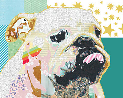Stripes Mixed Media - Bulldog Collage by Claudia Schoen