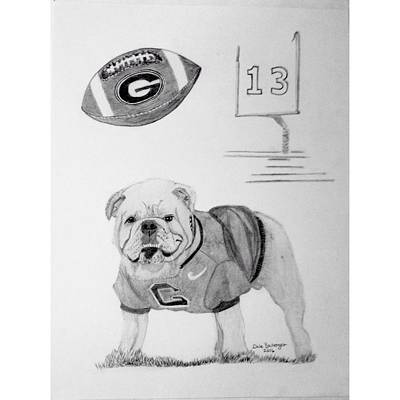 Mascot Drawing - Bulldog Collage by Dale Ballenger