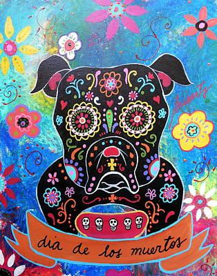 Bulldog Dia De Los Muertos Art Print by Pristine Cartera Turkus