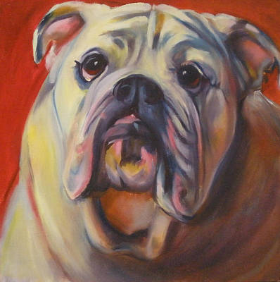 Bulldog Oil Painting - Bulldog Expression One by Kaytee Esser